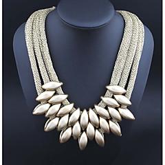 preiswerte Halsketten mit Aussage-Damen Statement Ketten  -  Erklärung Oval Schwarz Silber Regenbogen Modische Halsketten Für Normal Verabredung