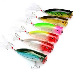 cheap Fishing Lures & Flies-6 pcs Fishing Tools Hard Bait / Popper Plastic Classic / Generic Sea Fishing / Lure Fishing / Trolling & Boat Fishing