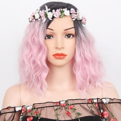 cheap Wigs & Hair Pieces-Synthetic Wig Women's Water Wave Pink Layered Haircut Synthetic Hair Ombre Hair Pink / Green Wig Short Capless Orange Black / Green Black / Pink