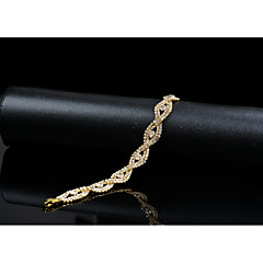 cheap Bracelets-Women's Cubic Zirconia Rhinestone Chain Bracelet - Vintage Elegant Circle Gold Bracelet For Wedding Evening Party