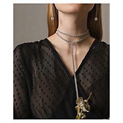 billige Fine smykker-Dame Flerlags Halskædevedhæng  -  Flerlags Mode Geometrisk form Sølv Halskæder Til Aftenselskab Skolebal