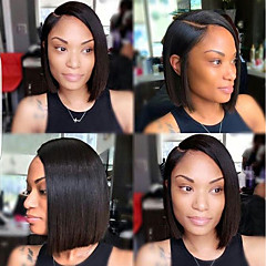 cheap Human Hair Wigs-Human Hair Lace Front Wig Brazilian Hair Straight Bob Haircut With Baby Hair 130% Density Unprocessed Natural Hairline Short Women's