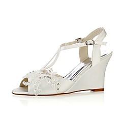 preiswerte -Damen Schuhe Stretch - Satin Sommer Pumps Hochzeit Schuhe Keilabsatz Peep Toe Kristall Perle für Kleid Party & Festivität Weiß Elfenbein