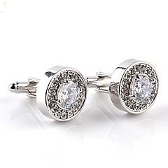 cheap Men's Cufflinks-Circle White Purple Cufflinks Crystal Imitation Diamond Alloy Formal Classic Fashion Daily Formal Men's Costume Jewelry