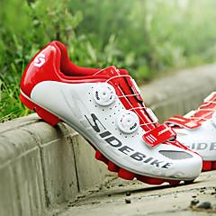 billige Sykkelsko-SIDEBIKE Voksne Sykkelsko med pedal og tåjern / Mountain Bike-sko Karbonfiber Demping Sykling Rød og Hvit Herre