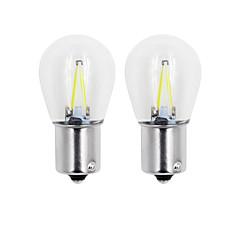 hesapli -2adet 2w cob dönüş ışık 1156/1157 beyaz / sıcak / mavi / sarı / kırmızı renkli cam led filament s25 araba araba dc12v
