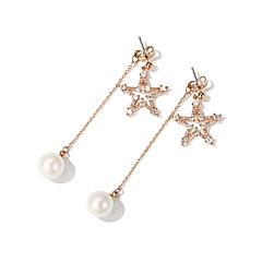 billige Fine smykker-Dame Stjerne Imiteret Perle 2stk Stangøreringe / Dråbeøreringe - Mode / Koreansk Guld Øreringe Til Daglig / I-byen-tøj