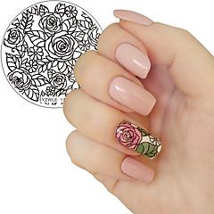 olcso -1db virágzó rózsa virágos köröm művészet bélyegző sablon kép lemez yzwle köröm bélyegző lemezek manikűr sztringek eszközök