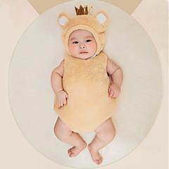 billige Babytøj-Baby Pige Simple Daglig Ensfarvet Uden ærmer Bomuld Tøjsæt Brun