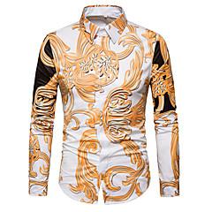 Herrn Freizeit Alltag Ausgehen Hemd, Hemdkragen Frühling Herbst Langarm Polyester