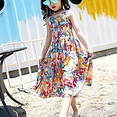 baratos Roupas de Meninas-Menina de Vestido Para Noite Floral Verão Algodão Sem Manga Vintage Arco-íris