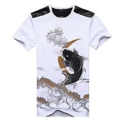 Herrn Chinoiserie T-shirt, Rundhalsausschnitt Druck Baumwolle