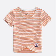 お買い得  男児 トップス-男の子 ストライプ コットン Tシャツ 夏 半袖 シンプル ブラック オレンジ ルビーレッド ネイビーブルー フクシャ