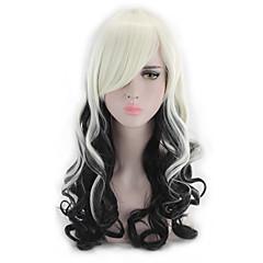 tanie Peruki syntetyczne-Peruki syntetyczne Falisty Luźne fale Naturalna linia włosów Gęstość Bez czepka Biały Czarny Peruka imprezowa Lolita Wig cosplay peruka