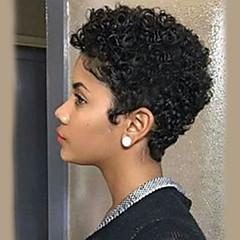 billige Lågløs-Human Hair Capless Parykker Menneskehår Krøllet Jerry Krølle Afro-amerikansk paryk Kort Maskinproduceret Paryk Dame