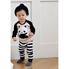 billige Undertøj og sokker til drenge-Baby Drenge Normal Stribet / Sort & Hvid Langærmet Kort Kort Bomuld Nattøj Sort