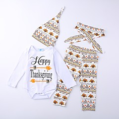 billige Tøjsæt til drenge-Baby Unisex Seperate Kroppe / Sparkedragter Geometrisk / Trykt mønster / Bogstaver Langærmet Bomuld Tøjsæt