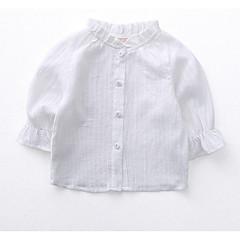 baratos Roupas de Meninas-Para Meninas Camisa Listrado Primavera Algodão Manga Longa Simples Branco