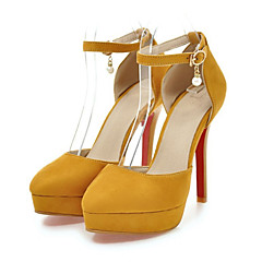 cheap Women's Heels-Women's Shoes Nubuck leather Spring / Summer Comfort / Novelty Heels Wedge Heel Pointed Toe Beading / Buckle Gray / Yellow / Red