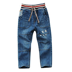 baratos Roupas de Meninos-Para Meninos Jeans Sólido Inverno Outono Azul Claro