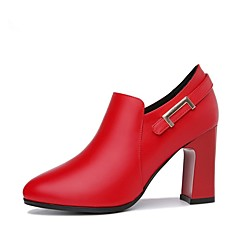 cheap Women's Heels-Women's PU(Polyurethane) Spring / Fall Comfort / Fashion Boots Heels Chunky Heel Round Toe Booties / Ankle Boots Black / Red