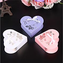 cheap Favor Holders-Heart Pearl Paper Favor Holder with Ribbons Favor Boxes - 50