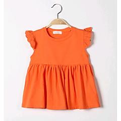 billige Pigetoppe-Baby Pige Ensfarvet Uden ærmer Normal Bomuld Bluse Orange