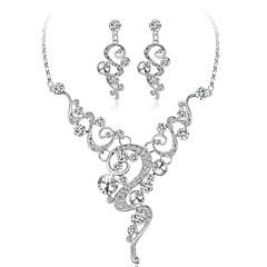 billige Smykke Sett-Dame Smykke Sett Krystall Rhinstein Mote Bryllup Gullbelagt Geometrisk Form 1 Halskjede Øreringer