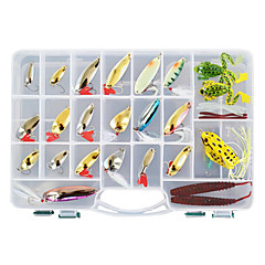 cheap Fishing Lures & Flies-138 pcs Hard Bait Soft Bait Flies Lure kits Fishing Lures Metal Bait Lure Packs Vibration/VIB Popper Pencil Crank Minnow Flies Jerkbaits