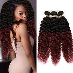 preiswerte 3-Ton Haarverlängerungen-Brasilianisches Haar Kinky-Curly Menschliches Haar Webarten 3 Stück 0.3