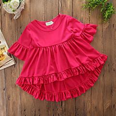 billige Pigetoppe-Baby Pige Afslappet Daglig / I-byen-tøj Ensfarvet Flettet / Stilfuldt / Tynd Kortærmet Normal Bomuld / Polyester T-shirt Rød / Sødt