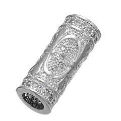 baratos Miçangas & Fabricação de Bijuterias-Jóias DIY 1 pçs Contas Imitações de Diamante Liga Dourado Prata Cilindro Bead 0.5 cm faça você mesmo Colar Pulseiras