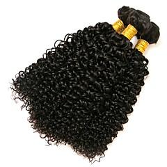 cheap Human Hair Weaves-Brazilian Hair Kinky Curly Natural Color Hair Weaves 3 Bundles 8-28inch Human Hair Weaves Natural Black Women's