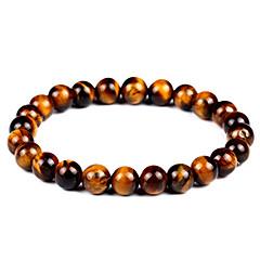 billige -Herre Dame Onyx Tiger Eye Stone Bohemisk 1pc Armbånd Strand Armbånd - Vintage Bohemisk Mode Cirkelformet Brun Armbånd Til Gave
