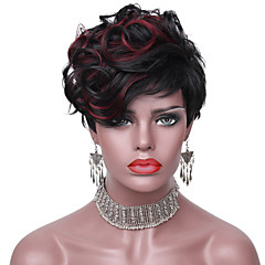 cheap Wigs & Hair Pieces-short wavy hair black color synthetic wigs for women