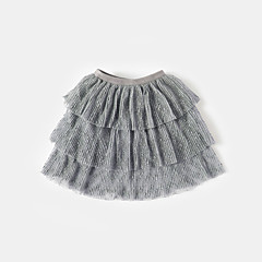 billige Pigenederdele-Baby Pige Aktiv Ensfarvet Bomuld / Bambus Fiber / Spandex Nederdel Hvid 110 / Sødt