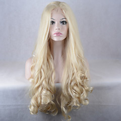 tanie Peruki syntetyczne-Syntetyczne koronkowe peruki Naturalne fale Peruka afroamerykańska Blond Damskie Koronkowy przód Celebrity Wig Peruka imprezowa Peruka