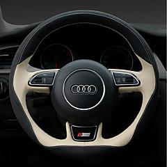 billige Rattovertrekk til bilen-Rattovertrekk til bilen ekte lær 38 cm Rød / Beige / Svart / Rød For Audi A4L / Q5 / A5 Alle år
