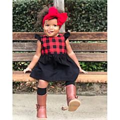 billige Pigekjoler-Baby Pige Boheme Ferie / I-byen-tøj Ensfarvet / Ternet Drapering Uden ærmer Kjole / Sødt