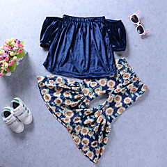 baratos Roupas de Meninas-Para Meninas Conjunto Diário Feriado Sólido Floral Raiom Fofo Boho Azul Real