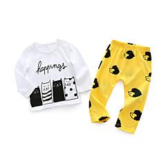 billige Sett med babyklær-Baby Unisex Tøjsæt Daglig Trykt mønster, Bomuld Forår Simple Hvid