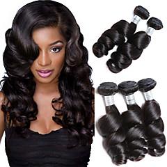cheap Human Hair Weaves-Brazilian Hair Loose Wave Natural Color Hair Weaves 3 Bundles 8-28inch Human Hair Weaves Natural Black