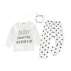 billige Sett med babyklær-Baby Pige Tøjsæt Daglig Trykt mønster, Bomuld Forår Simple Hvid