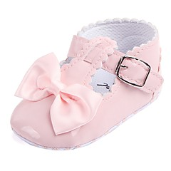 Para Meninas Sapatos Courino Primavera Conforto / Primeiros Passos / Sapatos de Berço Rasos Laço / Velcro para Vermelho / Rosa claro /