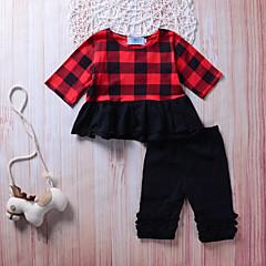 billige Tøjsæt til piger-Pige Tøjsæt I-byen-tøj Ferie Ensfarvet Ternet, Bomuld Sødt Aktiv Sort