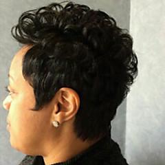 billige Lågløs-Human Hair Capless Parykker Menneskehår Krøllet Jerry Krølle Afro-amerikansk paryk Maskinproduceret Paryk