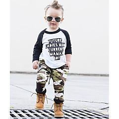 billige Tøjsæt til drenge-Drenge Simple / Afslappet Daglig / Sport Trykt mønster / Farveblok / Patchwork Monogram / Moderne Stil / Patchwork Langærmet Normal Normal Bomuld Tøjsæt Army Grøn