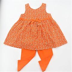 billige Tøjsæt til piger-Spædbarn Pige Afslappet / Aktiv / Basale Skole Prikker Trykt mønster Uden ærmer Lang Bomuld Tøjsæt