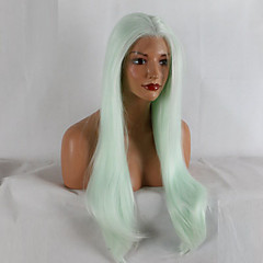 billiga Peruker och hårförlängning-Syntetiska snörning framifrån Naturligt vågigt Afro-amerikansk peruk Grön Spetsfront Celebrity Wig Partyperuk Naturlig peruk 20-40inch