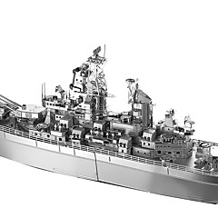 cheap -USS Missouri (BB-63) 3D Puzzles Warship Cuboid Stainless Steel Military Boat Adults' Boys' Gift